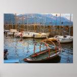 Lake Como, Traditional lake boat in the marina Poster