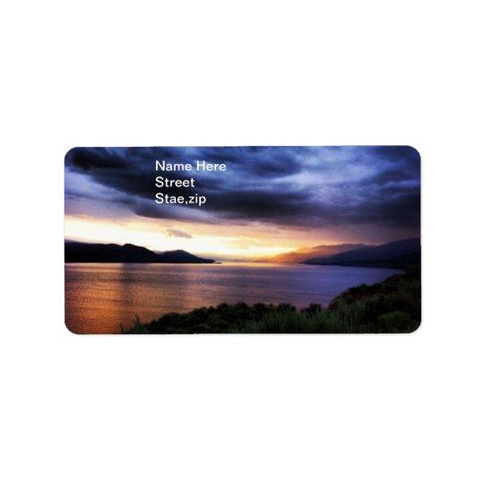 Lake Dark Blue Clouds Address Label