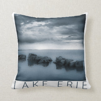 Lake Erie - Clouds and Rocks Throw Pillow