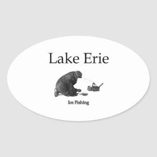 Lake Erie Ice Fishing Oval Sticker