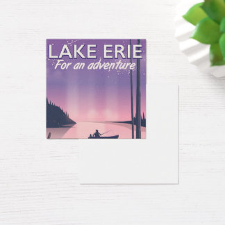 Lake Erie travel poster Square Business Card