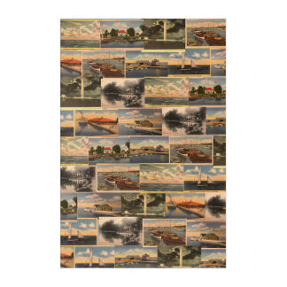 Lake Erie Vintage Postcard Collage Wall Art
