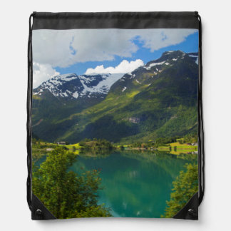 Lake Floen scenic, Norway Drawstring Bag