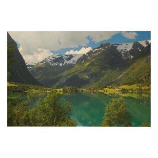 Lake Floen scenic, Norway Wood Wall Art