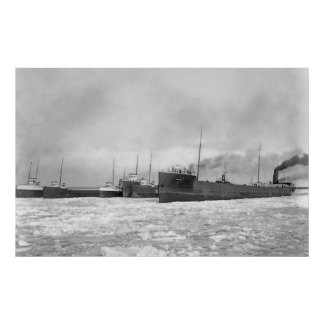 Lake Freighters in Winter Poster