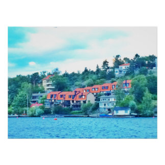 Lake front houses, Sweden Poster