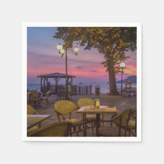 Lake Garda spectacular sunset Disposable Serviettes