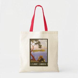 """""""Lake Garda"""" Vintage Italian Travel Poster Tote Bags"""