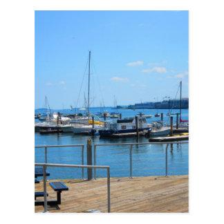 Lake Harbour SailBoats Lake view of Boston City Postcard