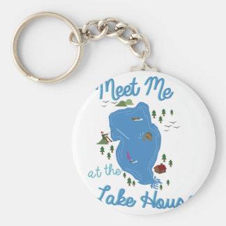 Lake House Basic Round Button Key Ring