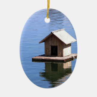Lake house ceramic ornament