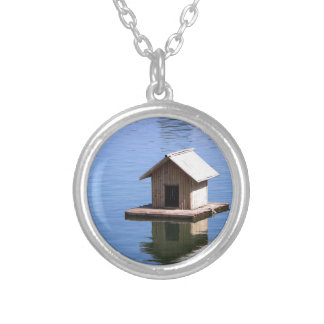 Lake house silver plated necklace