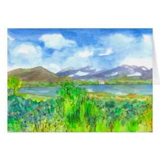 Lake House Watercolor Happy Birthday Card