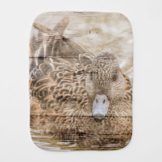 Lake House woodgrain pond wild duck Burp Cloth