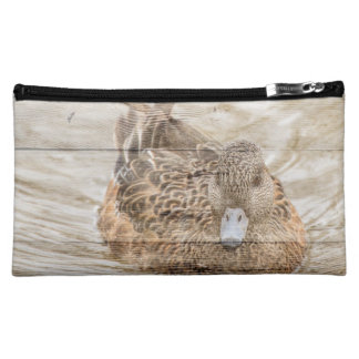 Lake House woodgrain pond wild duck Makeup Bag