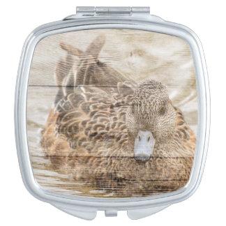 Lake House woodgrain pond wild duck Makeup Mirrors