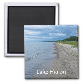 Lake Huron Summer Beach Square Magnet