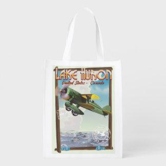 Lake Huron - USA - Canada Reusable Grocery Bag