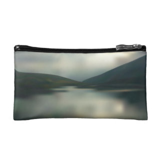 Lake in the mountains makeup bag