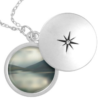 Lake in the mountains silver plated necklace