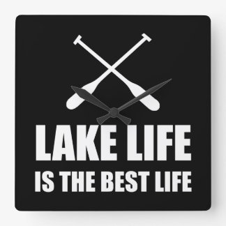 Lake Life Best Life Square Wall Clock