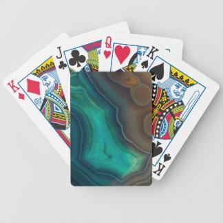 Lake Like Teal & Brown Agate Bicycle Playing Cards