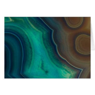 Lake Like Teal & Brown Agate Card