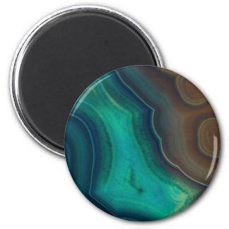 Lake Like Teal & Brown Agate Magnet