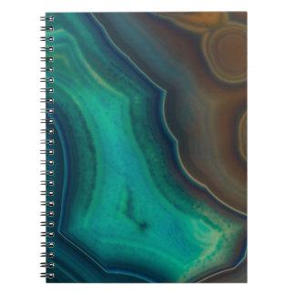 Lake Like Teal & Brown Agate Notebooks