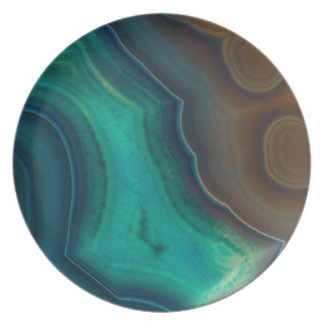 Lake Like Teal & Brown Agate Plate