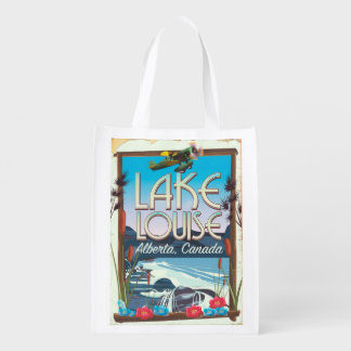 Lake Louise, Alberta Canada travel poster Reusable Grocery Bag
