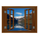 Lake Louise Mountain Lake Faux Window reflection Poster