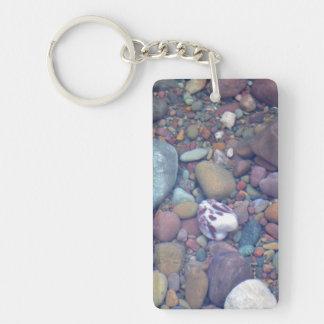 Lake McDonald Rocks Rectangular Acrylic Keychains
