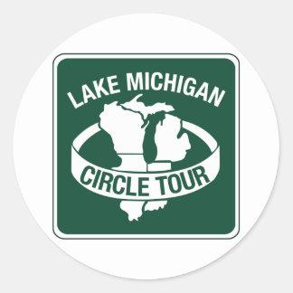 Lake Michigan Circle Tour, Sign, Wisconsin, USA Classic Round Sticker