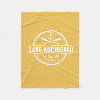 Lake Michigan, custom town, name, anchor, paddles Fleece Blanket