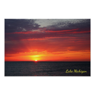 Lake Michigan Fiery Summer Orange July Sunset Poster