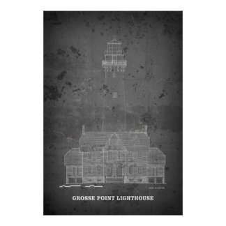 LAKE MICHIGAN GROSSE POINT LIGHTHOUSE BLUEPRINT POSTER