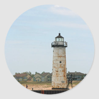 Lake Michigan Lighthouse Classic Round Sticker