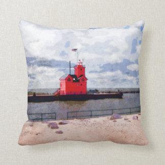 Lake Michigan Lighthouse Cushion