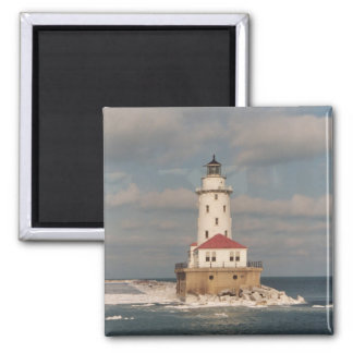 Lake Michigan Lighthouse Square Magnet