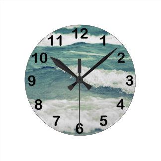 Lake Michigan Rolling Waves Round Clock