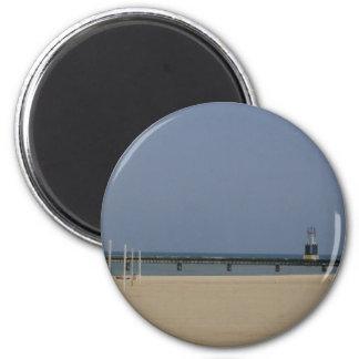 Lake Michigan Shores Beacon Light 6 Cm Round Magnet