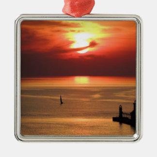 Lake Michigan Sunset Metal Ornament