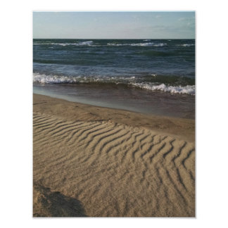 Lake Michigan surf and beach sand Poster