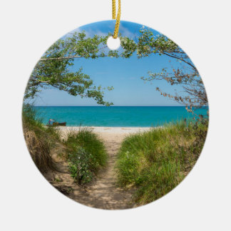 Lake Michigan Tranquility Ceramic Ornament