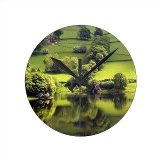 Lake Mirror Beauty Reflection Round Wall Clocks