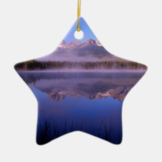 Lake Morning At Little Redfish Idaho Ceramic Ornament