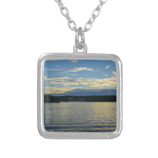 Lake Of The Ozarks Blue Sunset Silver Plated Necklace