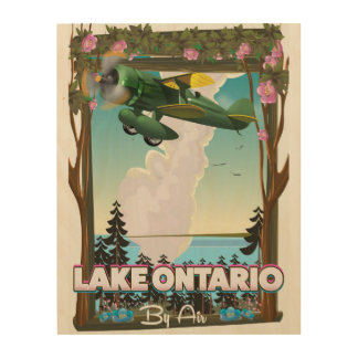 Lake Ontario North American flight poster Wood Canvas