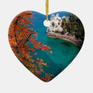 Lake Pictured Rocks Shore Superior Michigan Ceramic Heart Decoration